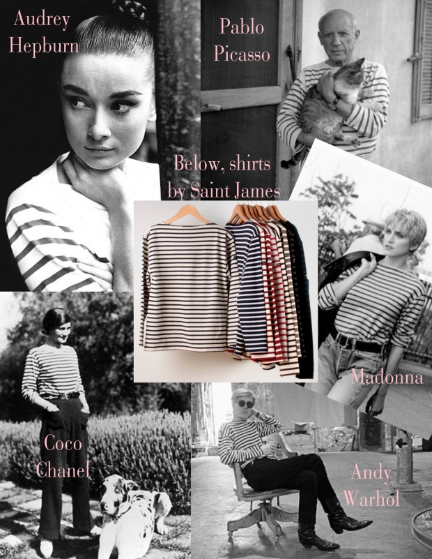 Fashion icons wearing striped tees inspired by the French navy.
