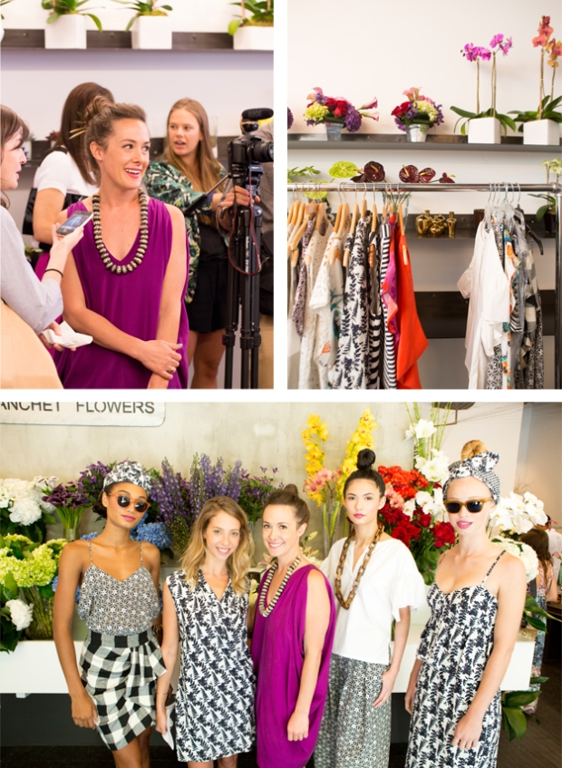Clockwise from top: designer Whitney Pozgay;  WHIT S/S 2014 collection; the designer with models wearing her newest looks.