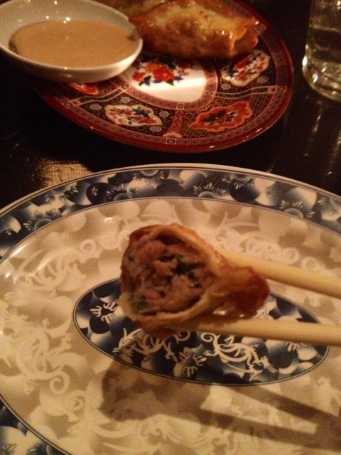 On the bite side—Talde's yummilicious dumpling, and mismatched Chinatown plates.