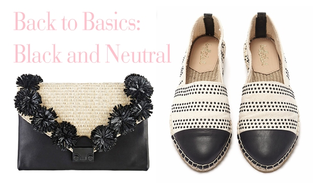 Left: Lock Clutch with raffia details  Right: Mara Cap-Toe Espadrilles