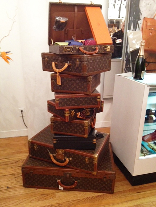 A tower of Louis Vuitton trunks.