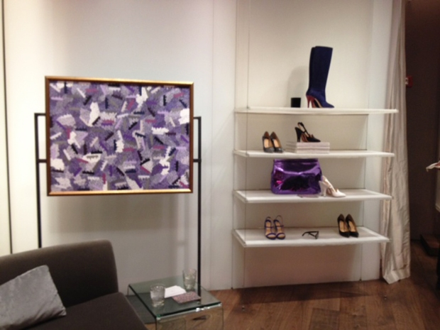 A perfectly coordinated display of purple accessories beside a purple collage.