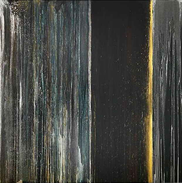 Black, Blue, Silver and Gold, 2013 Oil on canvas, 132 x 132 in.