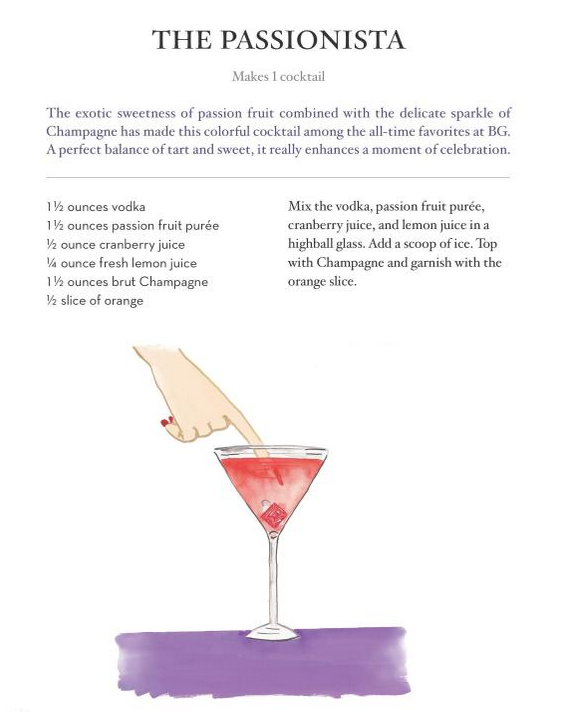 Passionista Cocktail from BG Restaurant Cookbook